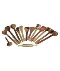 Desi Karigar Wooden Spoon Set of 14 Pcs/Wooden Spatula, Ladle & Kitchen Tool Set