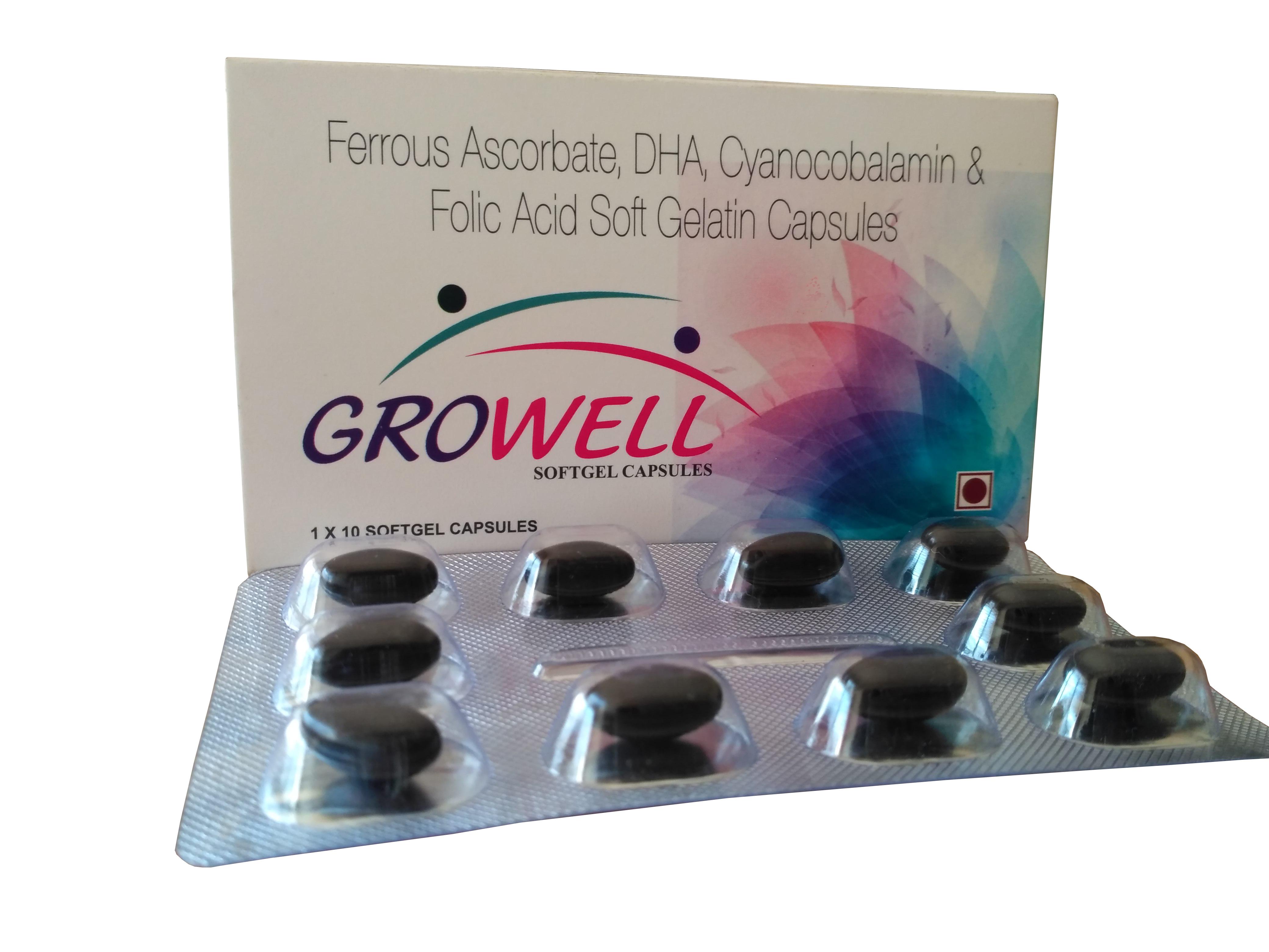 DHA 40% 200 mg + Cynocobalamin 0.0075mg , Folic Acid 1.5mg,Ferrous Ascorbate 50mg