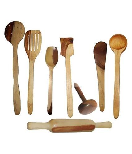 Desi Karigar Wooden Spoon Set of 8 Pcs/ Wooden Spatula, Ladle & Kitchen Tool Set