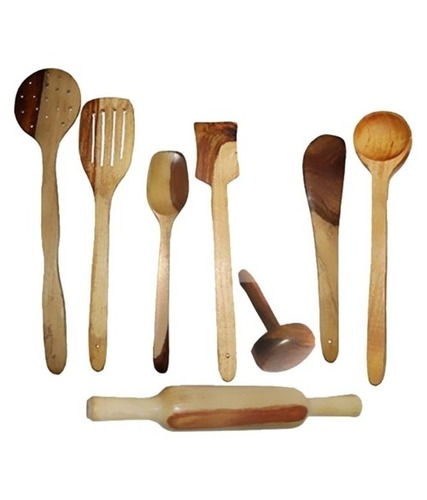 Desi Karigar Wooden Spoon Set of 8 Pcs/ Wooden Spatula, Ladle & Kitchen Tool Set