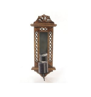 Desi Karigar Brown Wood And Iron Candle Stands (mirror Frame With Candle Holder)