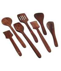 Desi Karigar Brown Wooden Spatula And Ladle Set Pack of 7