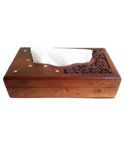 Desi Karigar Hand Carved Wooden Tissue Box