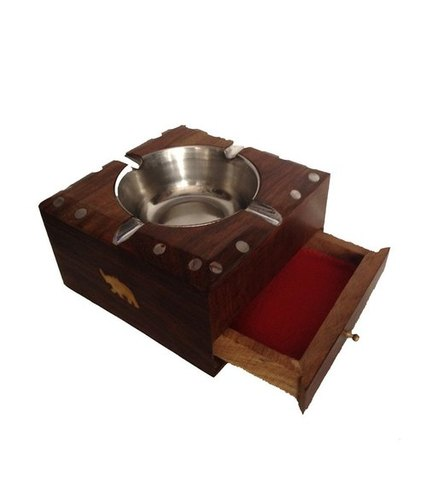 Desi Karigar Wooden Ashtray With Drawer