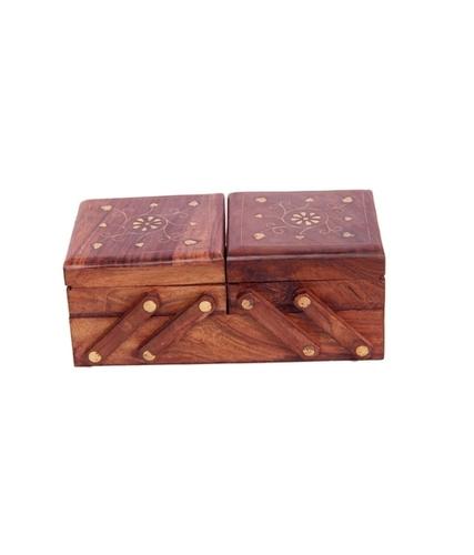 Desi Karigar Brown Beautifully Handcrafted Sliding Wooden Decorative Jewellery Storage Box