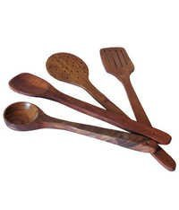 Desi Karigar Brown Wooden Spoon - Set Of 4