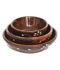 Desi Karigar Handicrafts Wooden Bowl - Set Of Three