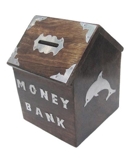 Desi Karigar Brown Wooden Money Bank For Kids