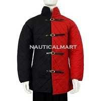 Medieval Front-Buckled Gambeson - Red and Black Duo Tone