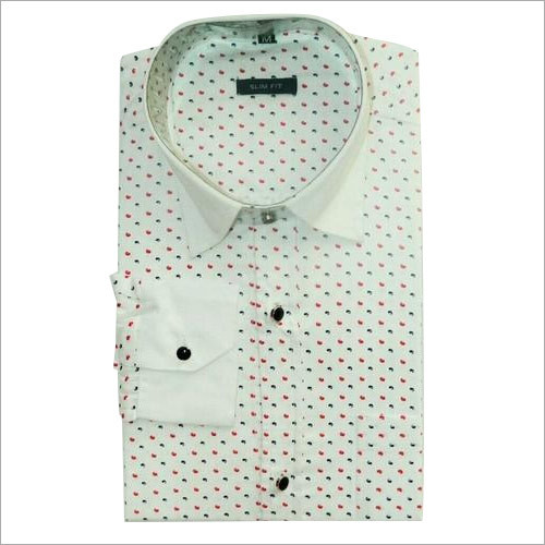Men's  White Printed Shirt