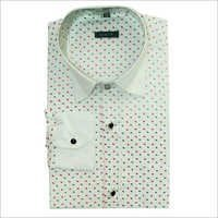 Men's  White Printed Shirt