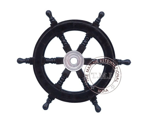 Black Wooden Ship Wheel