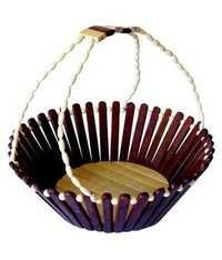Desi Karigar Brown Wooden Antique Decor Basket Useful And Decor
