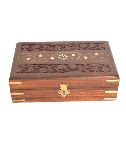 Desi Karigar Brown Make Up And Jewellery Wooden Vanity Case