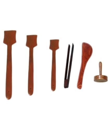 Desi Karigar Brown Wooden Skimmer - 6 Pieces