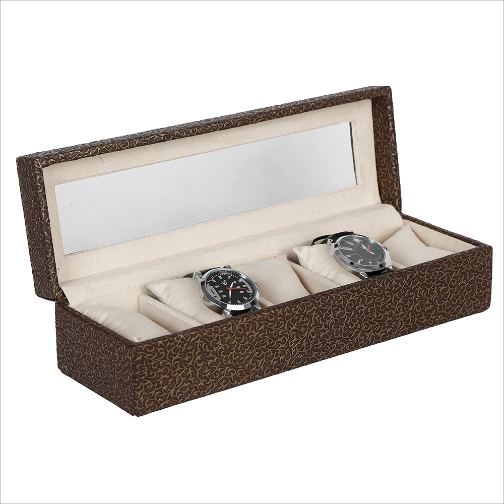Hard Craft Golden-Brown Watch Box for 5 Watches