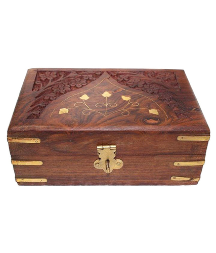 Desi Karigar Brown Wooden Jewellery Box