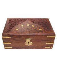 Desi Karigar Brown Wooden Jewellery Box