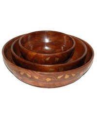 Desi Karigar Handicrafts Brown Wood Bowl Set Of 3