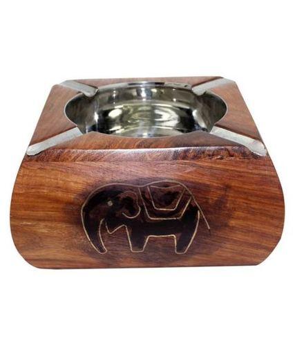 Desi Karigar Brown Wooden Ash Tray