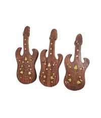 Desi Karigar Brown Wooden Guitar Key Chain Holder - Set Of 3