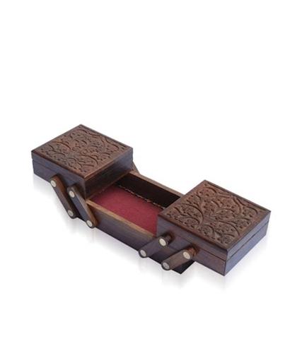 Desi Karigar Brown Sheesham Wood Carved Sliding Jewelry Box