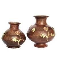 Desi Karigar  Brown Wooden Matki Set Of Two For Table Decor