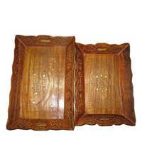 Desi Karigar  Brown Wood Designer Tray