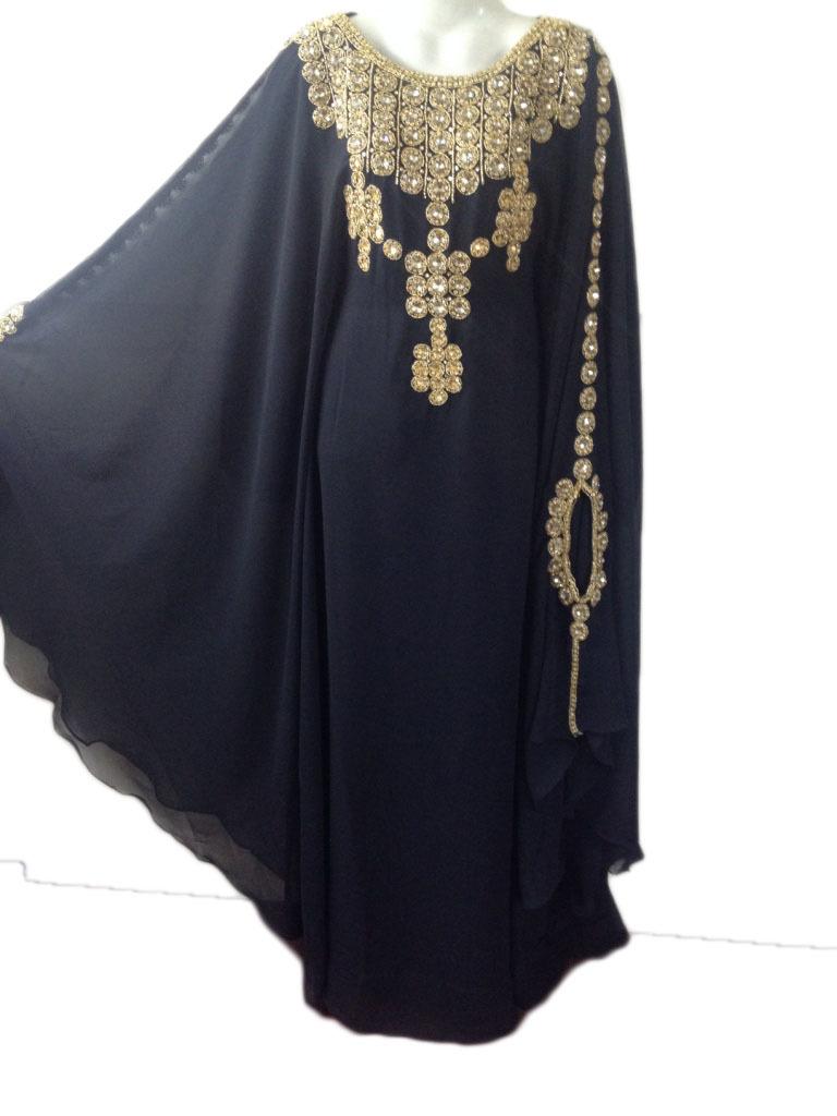Elegant fancy dubai jalabiya crystal kaftan