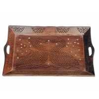 Desi Karigar serving tray with swan in jaali design