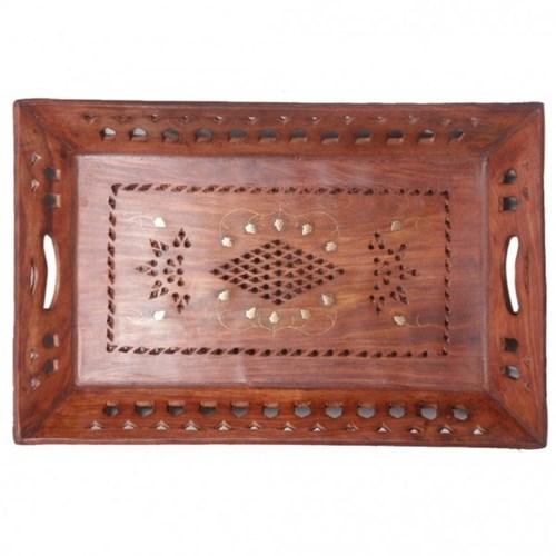 Desi Karigar rectangular brass and jali work tray