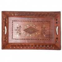 Desi Karigar rectangular brass and jali work tray