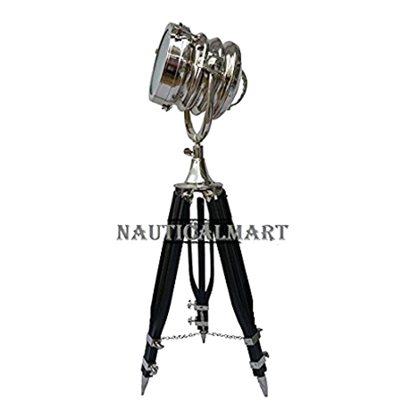 Chrome Finish Search light W-Black Tripod Stand