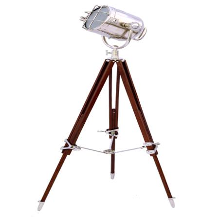 Chrome Search Light w-Brown Tripod Stand