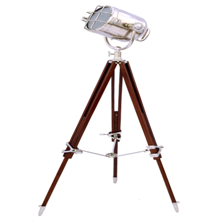 Chrome Search Light w-Brown Tripod Stand
