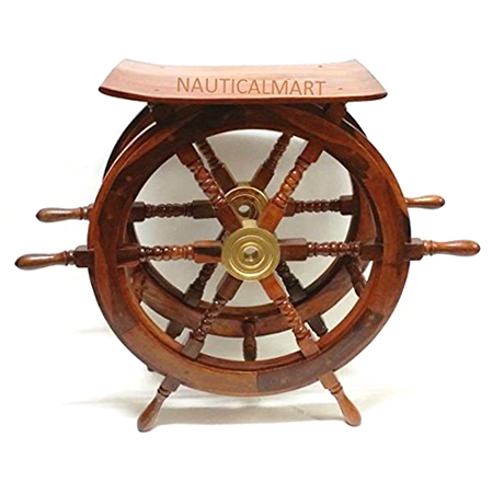 30 Inch Oak Wood Ship Wheel Table