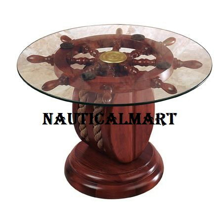36  Inch Ship Wheel Table W - Glass And Rope