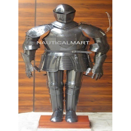 Medieval Knight Black Suit of Armor