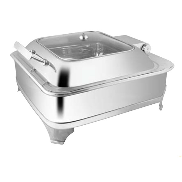 Square Glass Lid Chafer W- E E  & Frame
