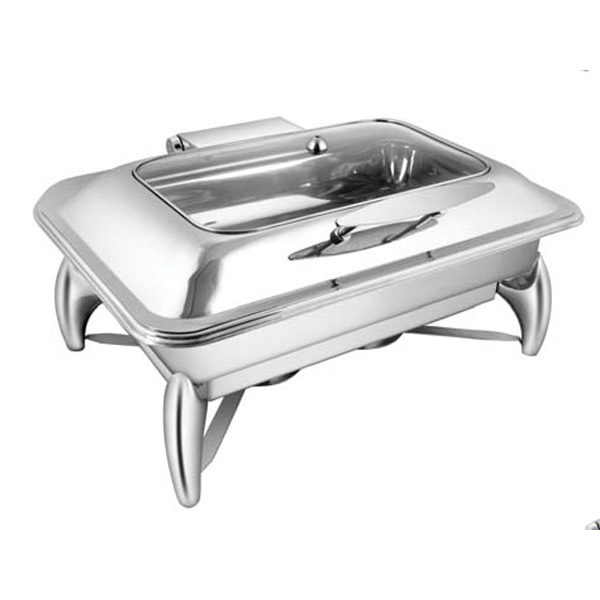 Rectangular Rect Glass LID Chafer W- Smart Legs