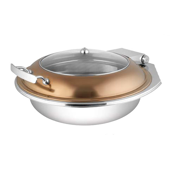 Round Rose Gold Glass LID Chafer