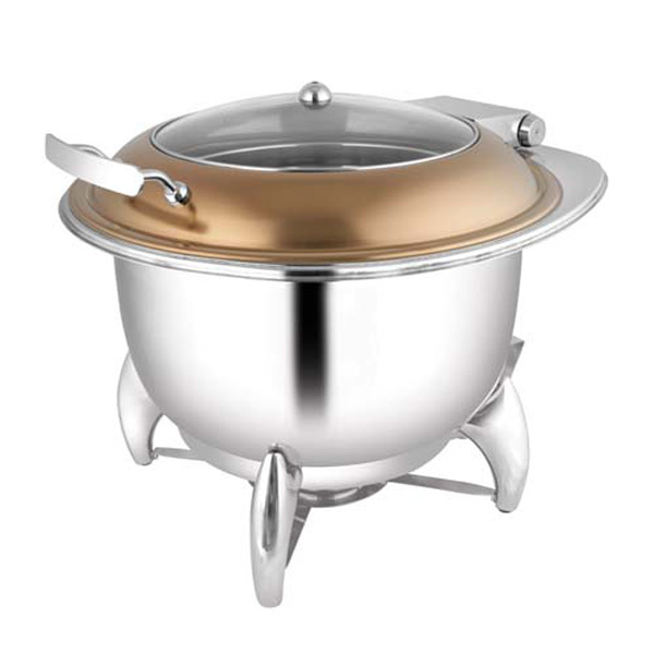 Round Rose Gold Glass LID Soup Tureen W-Smart Leg