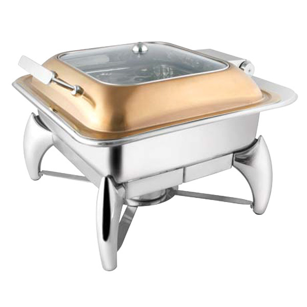 Square Rose Gold Glass LID Chafer W-Smart Legs