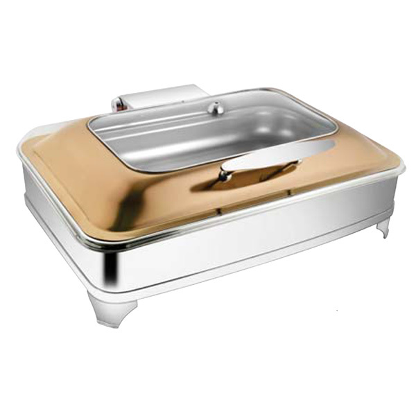 Rectangular Rose Gold Rect Glass Chafer W- E E & Frame