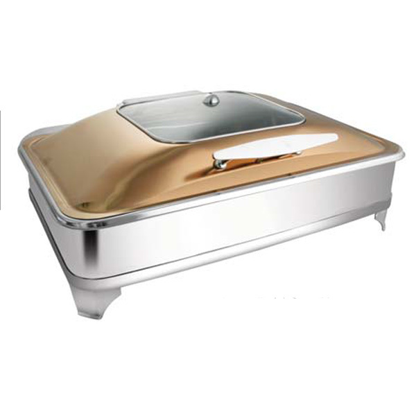 Rectangular Rose Gold SQ Glass Chafer W-E E & Frame
