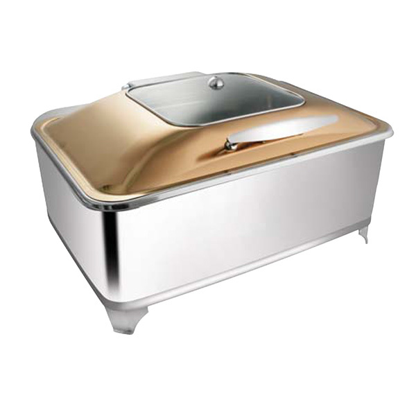 Rectangular Rose Gold SQ Glass Chafer W- Fuel Frame
