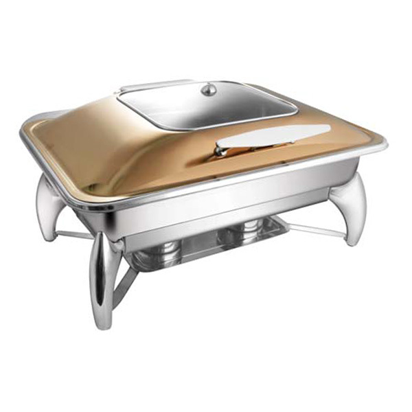 Rectangular Rose Gold SQ Glass LID Chafer W-Smart Legs