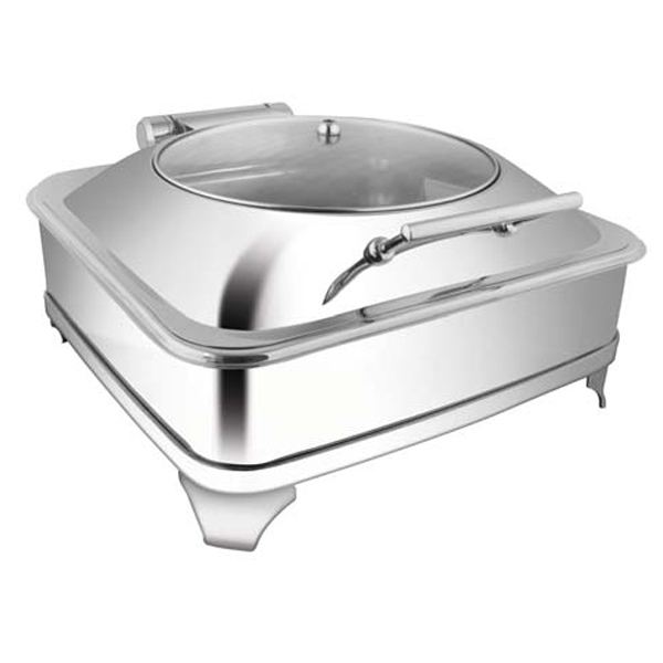 Square Glass LID Chafer W-Fuel Frame