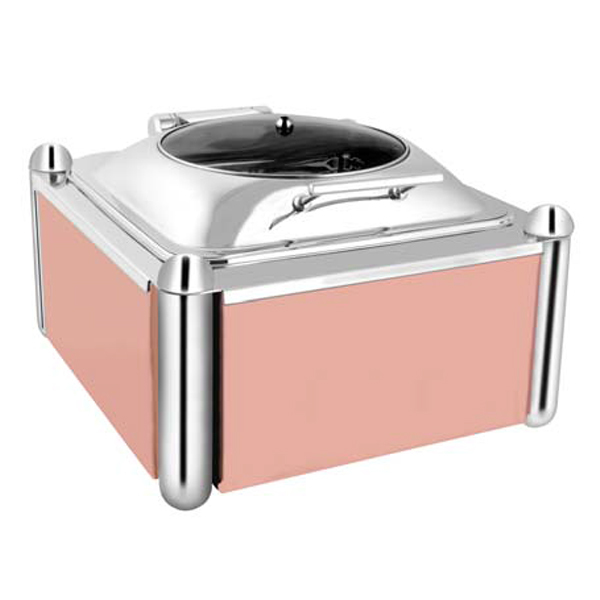Square Glass Chafer W-Rose Gold Pillar Stand