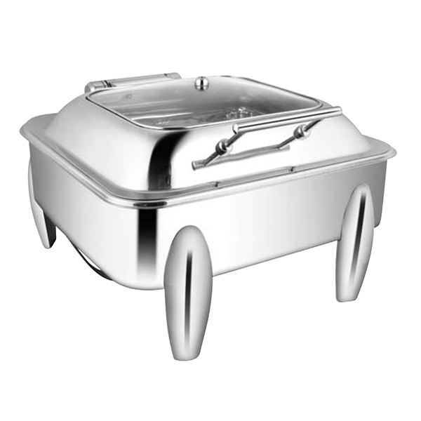 Square SQ Glass LID Chafer W-Curved Legs